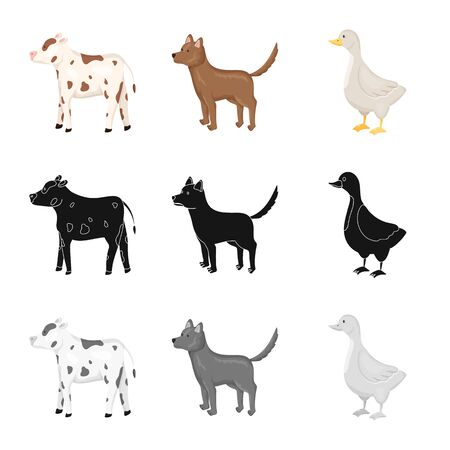 Isolated object of breeding and kitchen sign. Set of breeding and organic vector icon for stock.