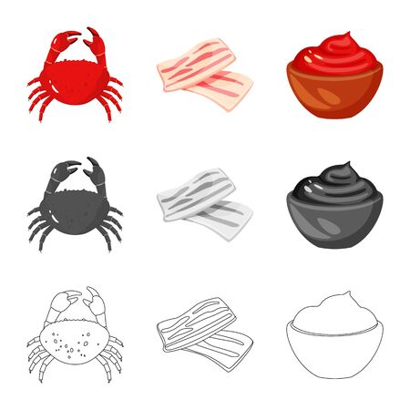 Vector design of taste and product symbol. Collection of taste and cooking stock symbol for web.