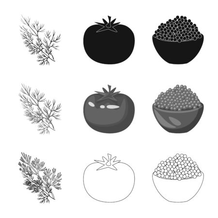 Isolated object of taste and product symbol. Set of taste and cooking vector icon for stock. Ilustrace