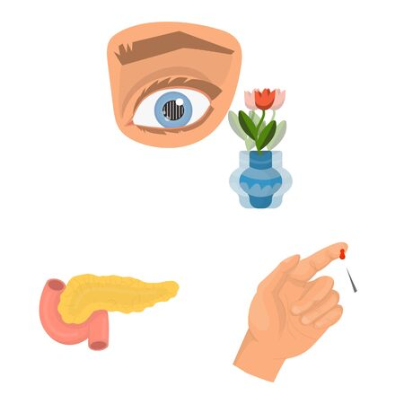 Vector illustration of mellitus and diabetes. Collection of mellitus and diet stock vector illustration.