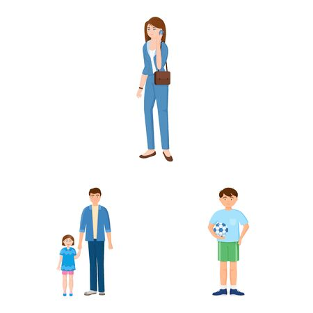 Isolated object of family and people sign. Collection of family and avatar stock vector illustration. Banque d'images - 129116021