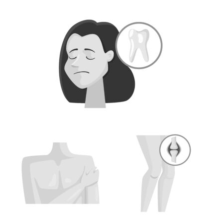 Vector illustration of suffering and injury sign. Set of suffering and damage vector icon for stock. Ilustrace