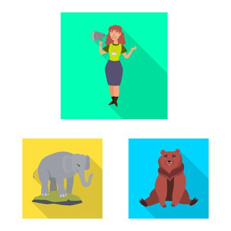 Vector design of safari and animal sign. Set of safari and fun stock symbol for web.