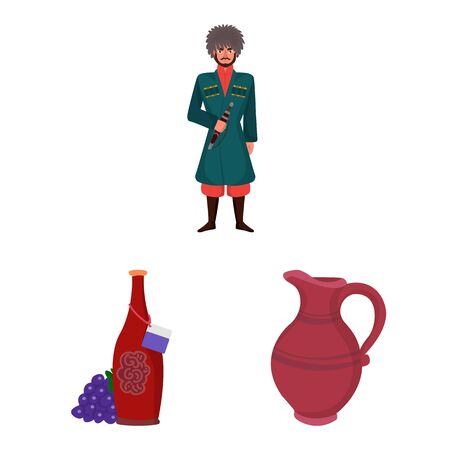 Isolated object of Caucasus and traditions icon. Set of Caucasus and attributes vector icon for stock. Фото со стока - 129105790