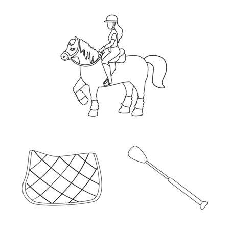 Vector illustration of horseback and equestrian icon. Collection of horseback and horse stock symbol for web.