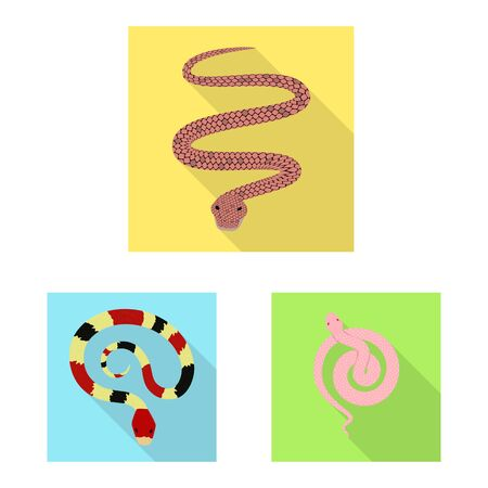 Vector design of skin and reptile icon. Collection of skin and danger vector icon for stock. Ilustrace