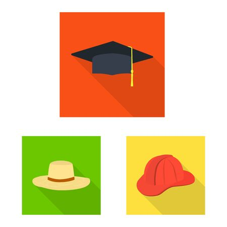Vector illustration of fashion and profession logo. Set of fashion and cap stock symbol for web.