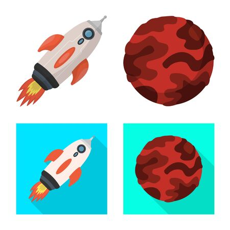 Vector illustration of astronomy and technology icon. Set of astronomy and sky vector icon for stock.