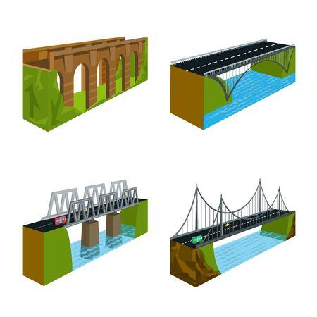 Vector illustration of bridgework and architecture sign. Collection of bridgework and structure stock vector illustration.
