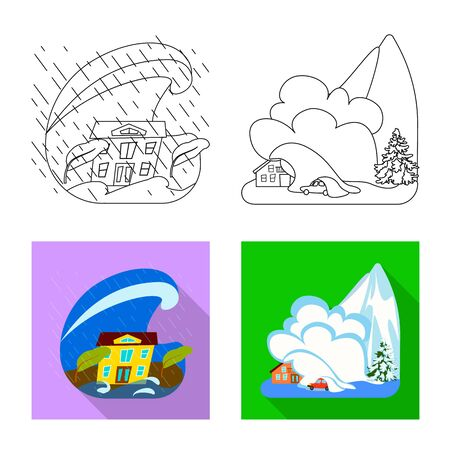 Vector illustration of weather and distress symbol. Set of weather and crash stock vector illustration. Illustration