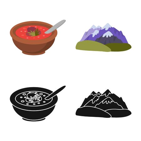 Vector design of culture and sightseeing symbol. Set of culture and originality stock symbol for web. Ilustrace