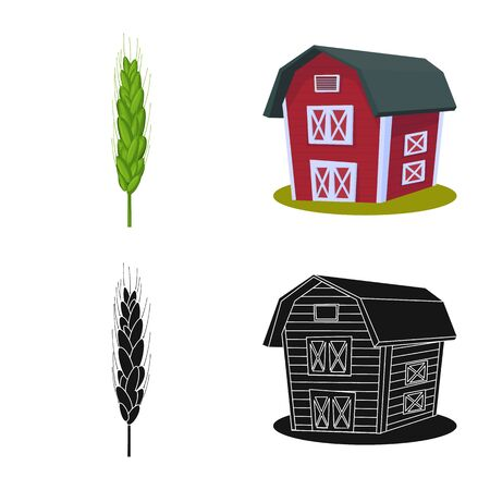 Isolated object of agriculture and farming symbol. Set of agriculture and plant stock vector illustration. 일러스트