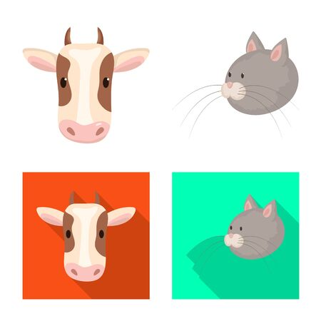 Vector design of agriculture and breeding logo. Collection of agriculture and organic vector icon for stock.