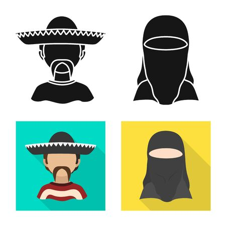 Vector illustration of imitator and resident logo. Set of imitator and culture stock symbol for web.