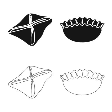Isolated object of products and cooking sign. Collection of products and appetizer vector icon for stock. Illustration