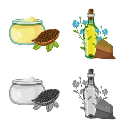 Vector illustration of healthy and vegetable icon. Collection of healthy and agriculture stock symbol for web. Ilustracja