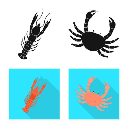 Vector design of fresh and restaurant. Collection of fresh and marine stock symbol for web.  イラスト・ベクター素材