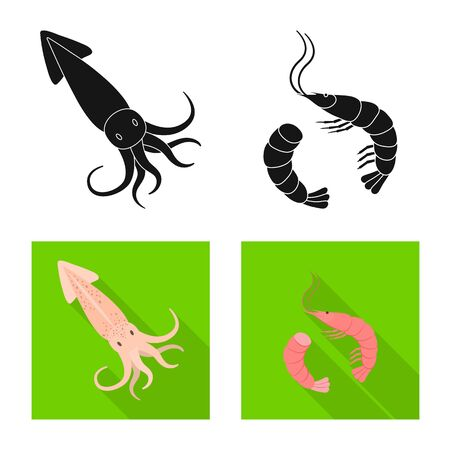 Isolated object of fresh and restaurant icon. Collection of fresh and marine stock vector illustration.