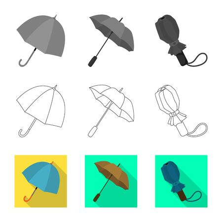 Isolated object of protection and closed symbol. Set of protection and rainy stock symbol for web.