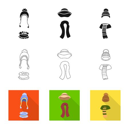 Vector design of clothes and texture symbol. Set of clothes and weather stock vector illustration.  イラスト・ベクター素材