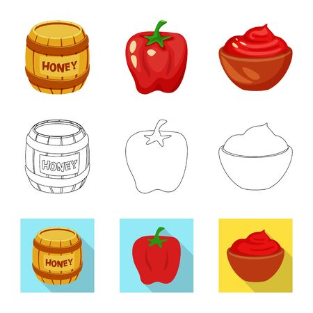 Vector illustration of taste and product sign. Set of taste and cooking stock symbol for web. Imagens - 128583017