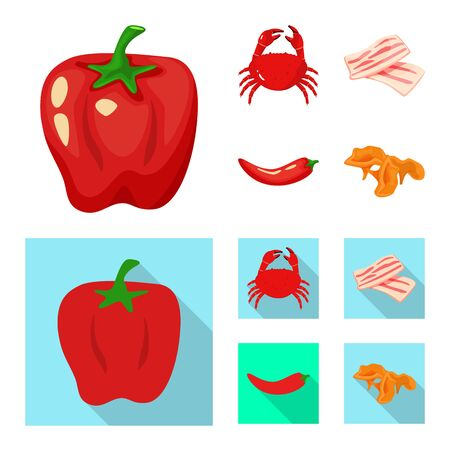 Isolated object of taste and product symbol. Set of taste and cooking stock vector illustration. Stockfoto - 129107134