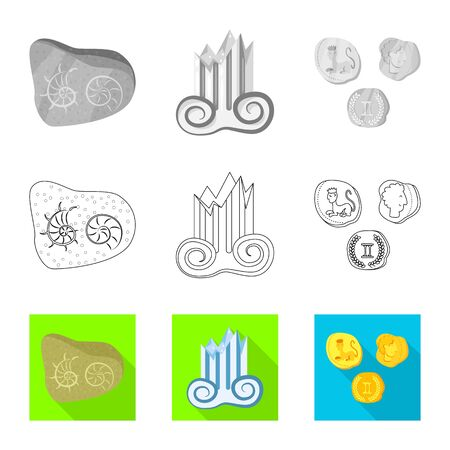 Isolated object of story and items symbol. Collection of story and attributes stock symbol for web. Standard-Bild - 129107418