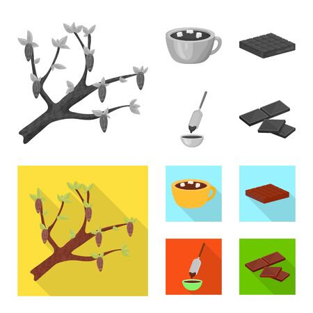 Isolated object of food and yummy icon. Collection of food and brown stock vector illustration. Imagens - 128582779