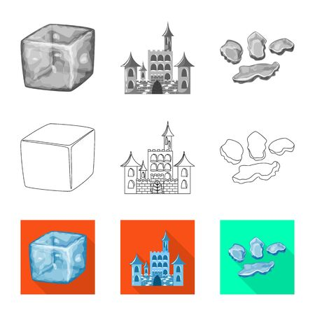 Vector design of texture and frozen. Collection of texture and transparent vector icon for stock. Illustration