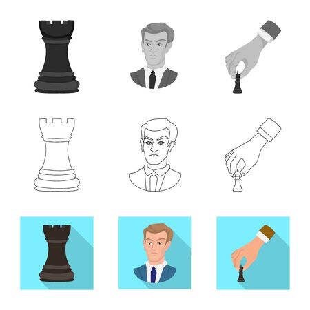 Vector illustration of checkmate and thin. Set of checkmate and target vector icon for stock.