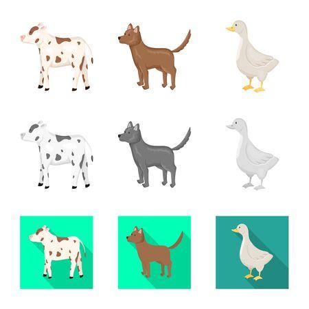 Vector design of breeding and kitchen symbol. Set of breeding and organic stock symbol for web. Фото со стока - 129107624
