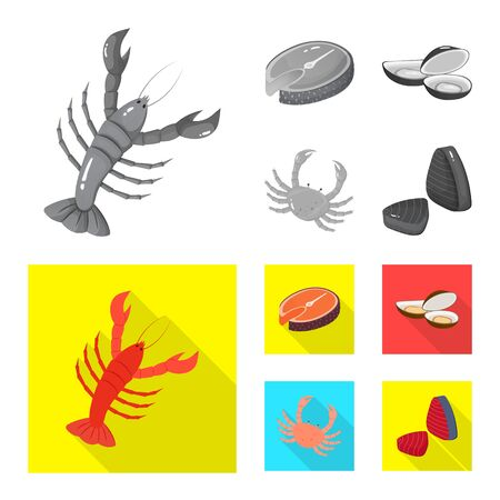 Isolated object of fresh and restaurant. Collection of fresh and marine stock symbol for web.