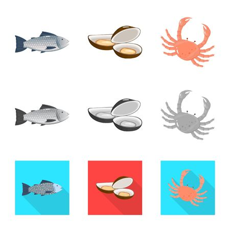 Vector illustration of fresh and restaurant icon. Set of fresh and marine vector icon for stock. Ilustração