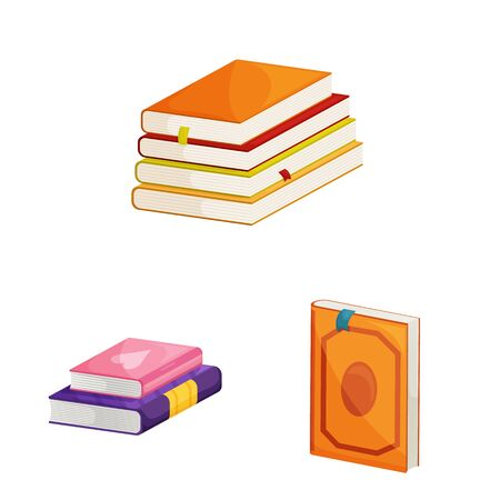 Vector design of library and bookstore icon. Set of library and literature stock symbol for web.