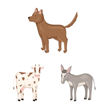 Vector design of animal icon. Collection of farm and countryside stock symbol for web. Фото со стока - 129107698