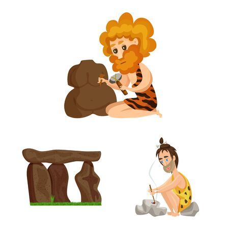 Vector illustration of ancient and age. Collection of ancient and archeology stock vector illustration.