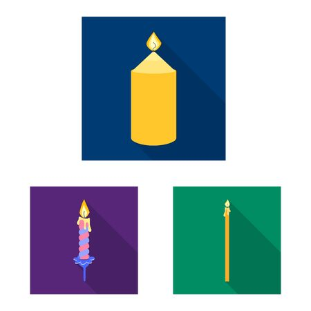 Vector design of candlelight and decoration symbol. Set of candlelight and flame stock vector illustration. Ilustrace