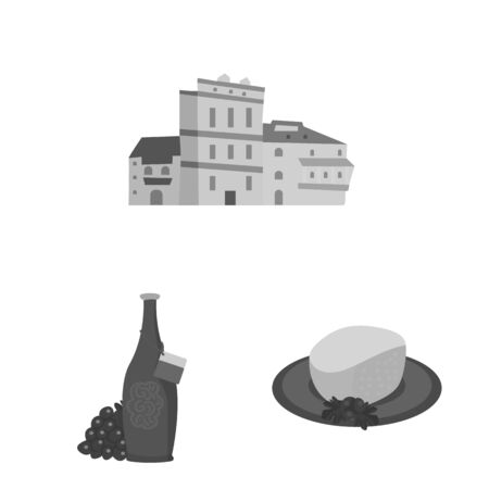 Isolated object of attributes and tourism. Set of attributes and national vector icon for stock. Vectores