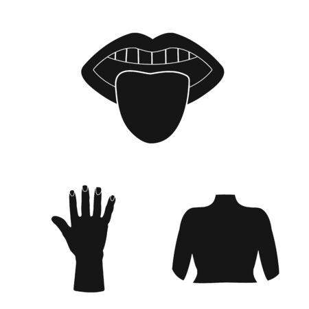Vector design of body and part symbol. Set of body and anatomy stock symbol for web.