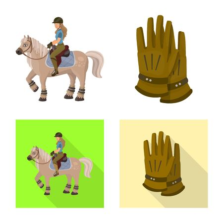 Isolated object of equipment and riding sign. Set of equipment and competition vector icon for stock. Ilustração