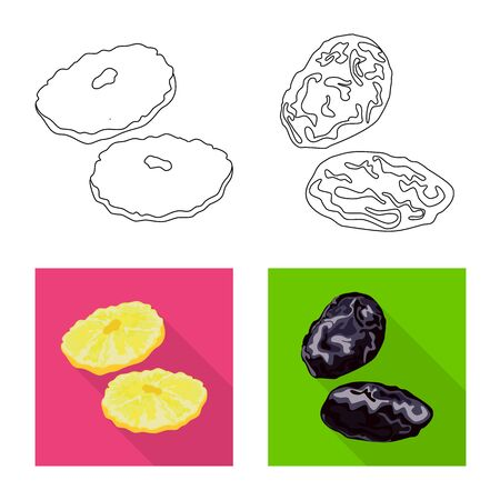 Vector design of food and raw icon. Collection of food and nature stock vector illustration.