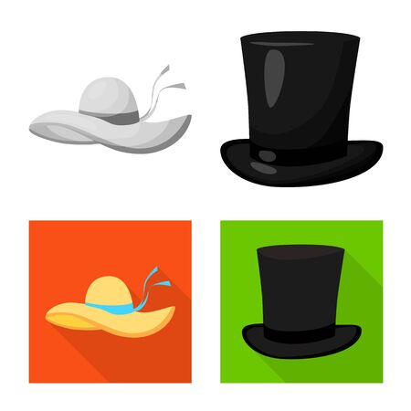 Vector design of clothing and cap logo. Set of clothing and beret vector icon for stock.