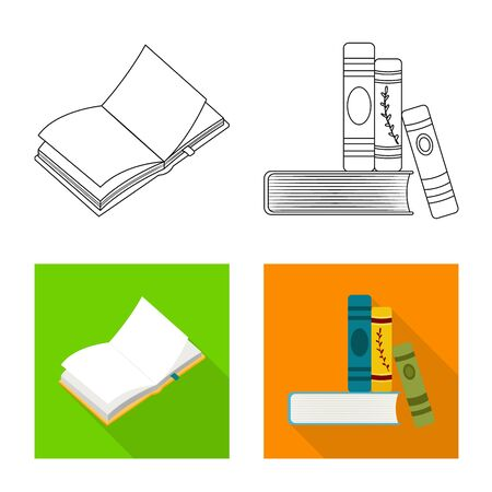Vector illustration of training and cover icon. Collection of training and bookstore stock symbol for web.