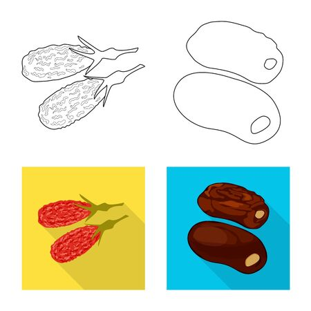 Isolated object of food and raw. Collection of food and nature stock symbol for web.