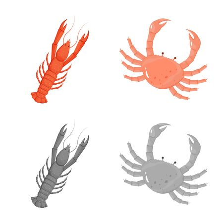 Vector design of fresh and restaurant symbol. Collection of fresh and marine vector icon for stock.