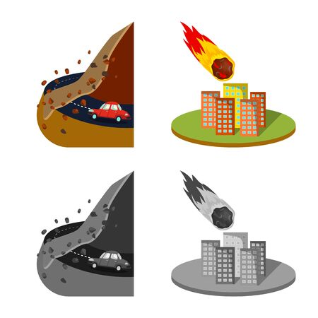 Isolated object of weather and distress symbol. Set of weather and crash stock vector illustration.