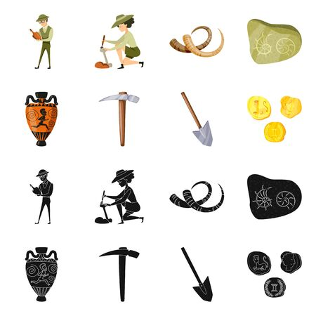 Isolated object of story and items sign. Set of story and attributes vector icon for stock.