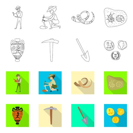 Isolated object of story and items symbol. Collection of story and attributes vector icon for stock.