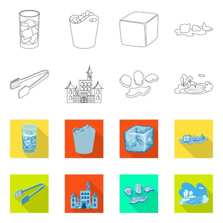 Vector illustration of texture and frozen. Set of texture and transparent stock symbol for web.