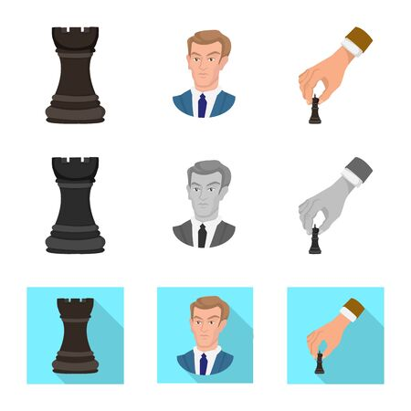 Vector design of checkmate and thin symbol. Collection of checkmate and target stock vector illustration. Çizim